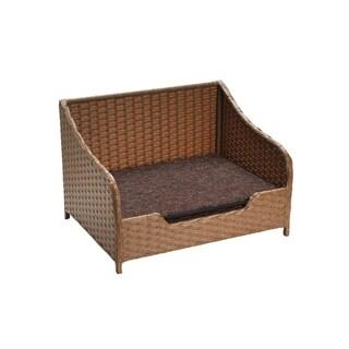 Elegant Indoor Outdoor Metal Frame Rectangular Rattan Wicker Pet Bed Sofa