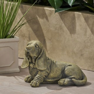Christopher Knight Home Abby Outdoor Basset Hound Dog Antique Green Cast Stone Garden Ornament
