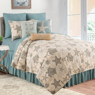 Amber Sands Coastal Reversible Cotton 3 Piece Quilt Set - Twin 2 Piece