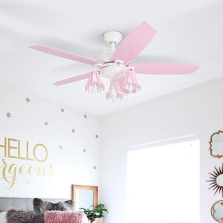 Taylor & Olive Calendula 48-inch White/ Pink LED Ceiling Fan