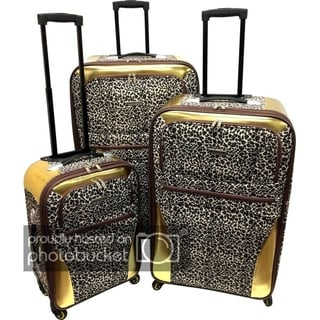 Karriage-Mate Extra Large Leopard 3-piece Expandable Spinner Luggage Set