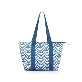 """Zodaca 15"""" Large Reusable Insulated Zipper Lunch Tote Bag Leak Resistant Cooler Storage Bag, Navy Japanese Waves"""