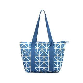"""Zodaca 15"""" Large Reusable Insulated Zipper Lunch Tote Bag Leak Resistant Cooler Storage Bag, Blue Sand Triangles"""