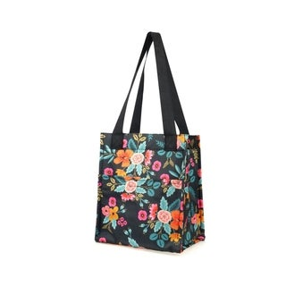 Zodaca Stylish Insulated Zipper Lunch Bag Cooler for Picnic Travel, Marion Floral Print