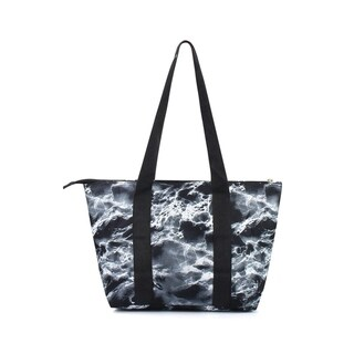 """Zodaca 15"""" Large Reusable Insulated Zipper Lunch Tote Bag Leak Resistant Cooler Storage Bag, Black Seamless Marble"""