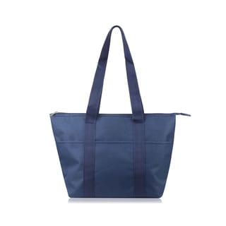 Zodaca Large Reusable Insulated Zip Lunch Bag Cooler Picnic Travel Food Box Women Tote Carry Storage Bags, Solid Navy