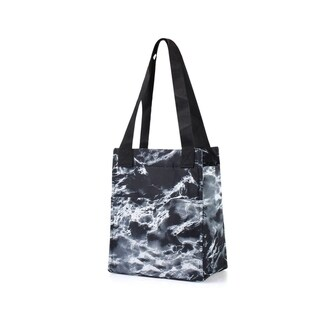 """Zodaca 11.5"""" Leak Resistant Reusable Insulated Lunch Bag Tote Cooler for Picnic Travel, Black Seamless Marble"""