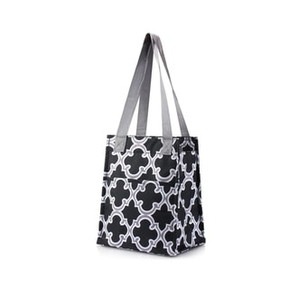 Zodaca Stylish Women Insulated Lunch Tote Bag Picnic Travel Food Box Zipper Carry Bag, Black Quatrefoil