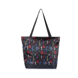 Zodaca Large All Purpose Travel Laundry Shopping Zipper Utility Shoulder Tote Carry Bag, Multi-color Music Note