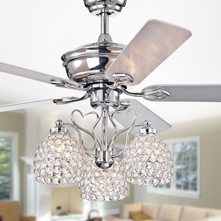 Boffen 52-inch 3-light Lighted Ceiling Fan with Crystal Cup Shades (incl. Remote & 2 Color Option Blades)