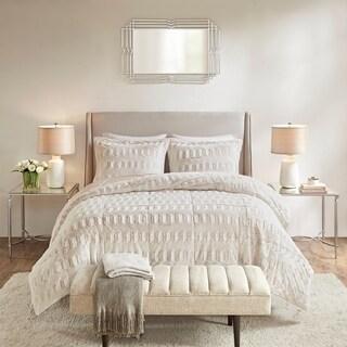 Madison Park Margot Blush Back Print Long Fur Comforter Mini Set
