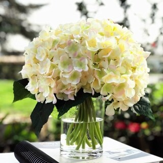 Enova Home Blush Artificial Hydrangea Flower Arrangements with Clear Glass Vase