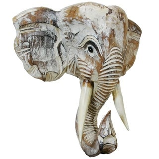 Handmade Wood Elephant Head Wall Dcor (Indonesia)
