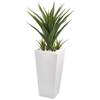 """40"""" Spiky Agave Artificial Plant in White Planter"""