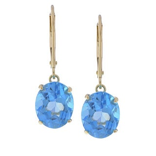 Kabella 14k Yellow Gold Oval Blue Topaz Leverback Earrings