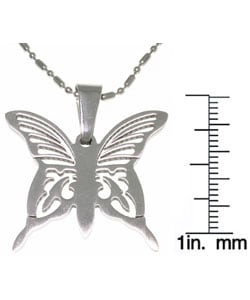CGC Stainless Steel Laser Etched Butterfly Necklace