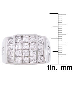 Simon Frank 14k White Gold Overlay Men's Surface Fire CZ Ring