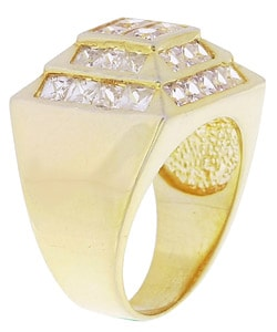 Simon Frank 14k Yellow Gold Overlay Men's High-tower CZ Ring