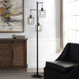 Carbon Loft Memnet 3-light Caged Cylinder Wire Pendant Floor Lamp
