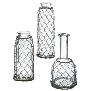 Glass with Mesh Bottles - Set of 3
