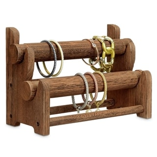 Wooden 2-Tier Bar Bracelet/Bangle Jewelry Holder Stand