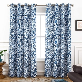 Porch & Den Ouzel Floral Watercolor Blackout Lined Window Curtain Panel Pair