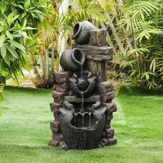 Resin Cascading Pots Outdoor Fountain