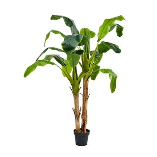 Pure Garden 72-inch Artificial Banana Leaf Tree- Double Trunk Style Faux Plant in Sturdy Pot Realistic Indoor Potted Topiary