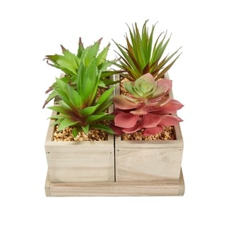 Faux Succulents- Assorted Lifelike Arrangement with Decorative Wooden Boxes by Pure Garden (4 in 1 Set)