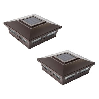 Classy Caps 6x6 Brown Aluminum Oxford Solar Post Cap (Set of 2)
