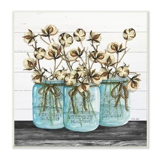 The Stupell Home Decor Cotton in Mason Jars Rustic Illustration Planked Look, 12 x 12, Proudly Made in USA - 12 x 12