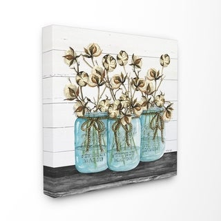The Stupell Home Decor Cotton in Mason Jars Rustic Illustration Planked Look, 17 x 17, Proudly Made in USA - Multi-Color