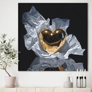 Designart 'Heart of Gold' Modern & Contemporary Canvas Wall Art