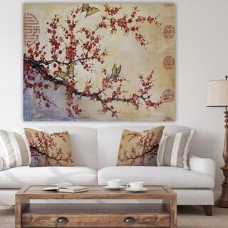 Designart 'Butterfly Blossoms-Asian' Cottage Canvas Art Print