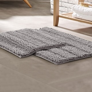 Modern Threads Chenille Noodle Bath Mat with Non-Slip Backing