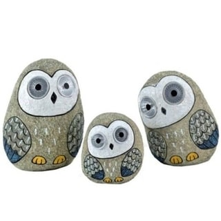 Set of 3 Solar Owl Figurines