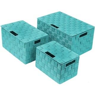 Weave Stackable Basket Set, 3 Pieces - Aqua