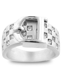 Kate Bissett Silvertone Buckle Cubic Zirconia Ring