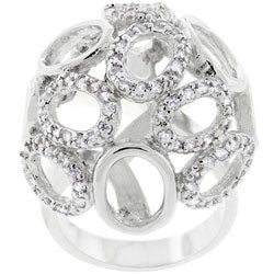 Kate Bissett Silvertone Oversized Oval Dome CZ Ring