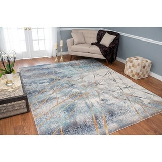 Porch & Den Ardith Blue and Ivory Low-pile Area Rug