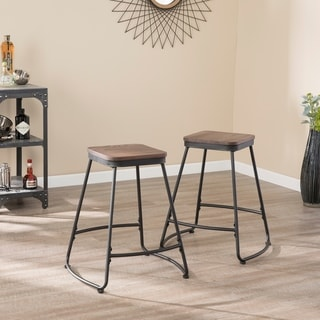 Carbon Loft Raymer Industrial Black Metal Counter Stools (Set of 2)