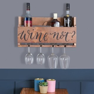 Danya B Rustic Wall Mount Wooden Stemware Rack and Wine Bottle Holder