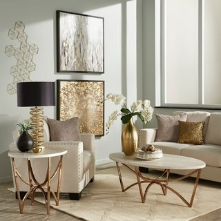 Vittoria Champagne Gold Finish Cocktail Table or Table Set with White Faux Marble Top by iNSPIRE Q Bold