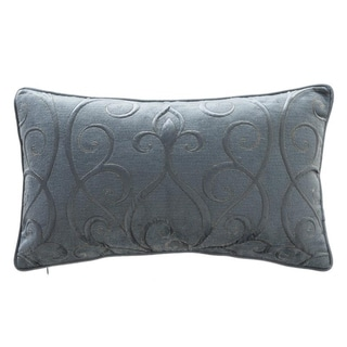 Vintage Blue Ivy Velvet Quilted Lumbar Pillow Cover