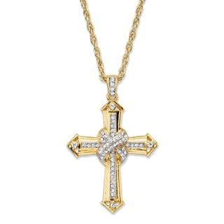 """Men's Gold Tone Cross Pendant with 24"""" Chain, (38mm) Round Crystal"""