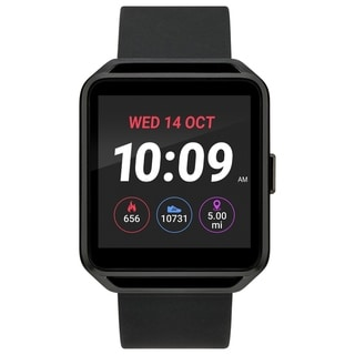iConnect by Timex Classic Square Smartwatch with Heart Rate & Two-Way Bluetooth Calling 40mm - Black with Black Strap