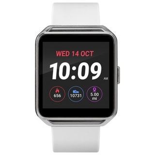iConnect by Timex Classic Square Smartwatch with Heart Rate & Two-Way Bluetooth Calling 40mm - Silver-Tone with White Strap