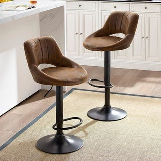 Art-Leon Modern Adjustable 360 Swivel Barstools with Retro PU Leather