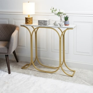 Suzanne Slim Goldtone Finish Console Table with Faux Marble Top