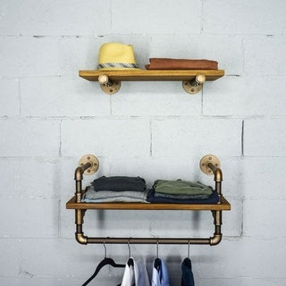 "Furniture Pipeline Austin 24"" - 33"" Wide Set of 2 Wall Shelf Rack"